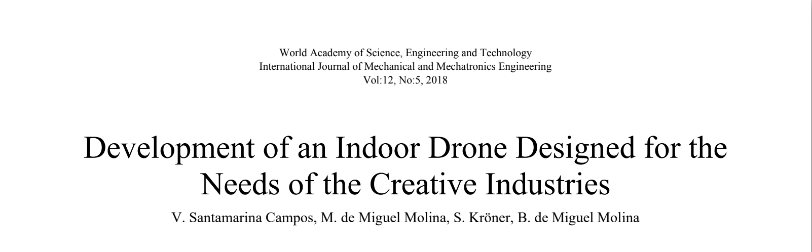 AiRT project in International Journal of Mechanical and Mechatronics Engineering
